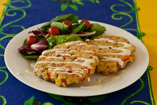 Corn, Red Pepper, and Bacon Cakes