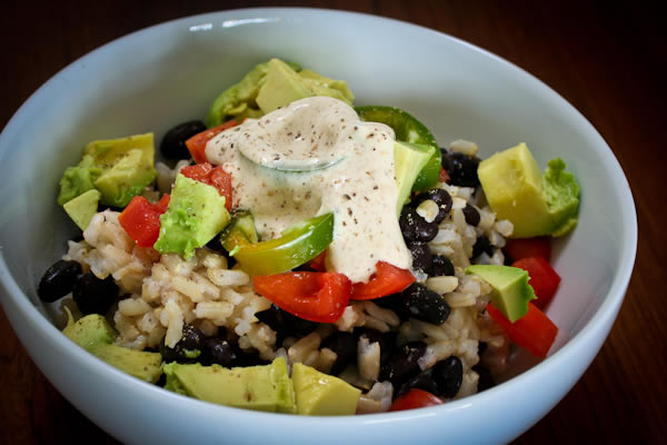 Healthy recipe for brown rice, black beans