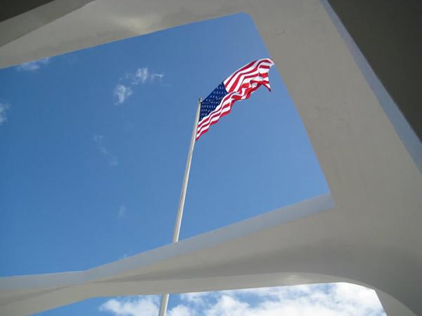 Flag Over the Arizona Memorial, Pearl Harbor