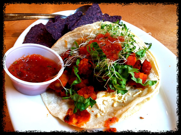 Tempeh tacos at Lotus Cafe