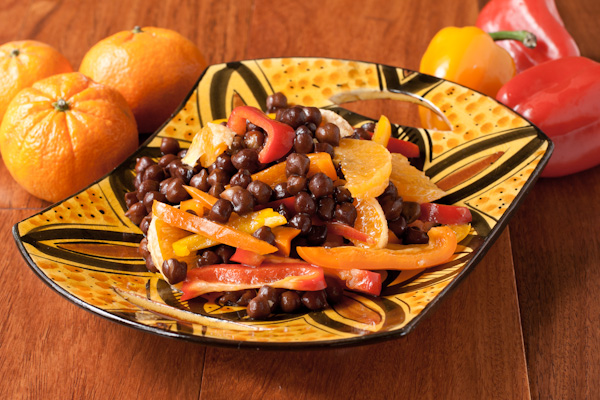Moroccan black garbanzo, pepper, and orange salad