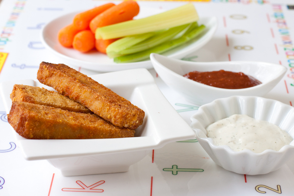 Baked crispy tofu sticks with kid-friendly BBQ sauce