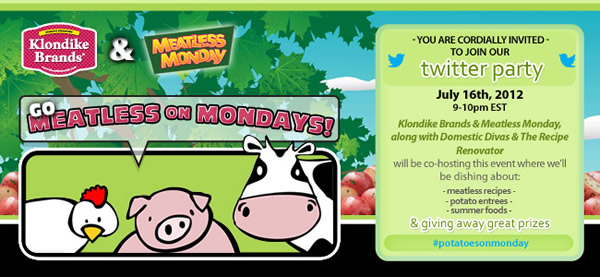 Meatless Monday twitter party invite