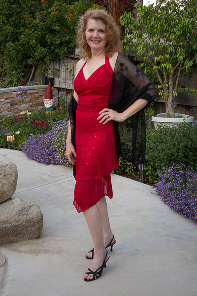Stephanie in red dress