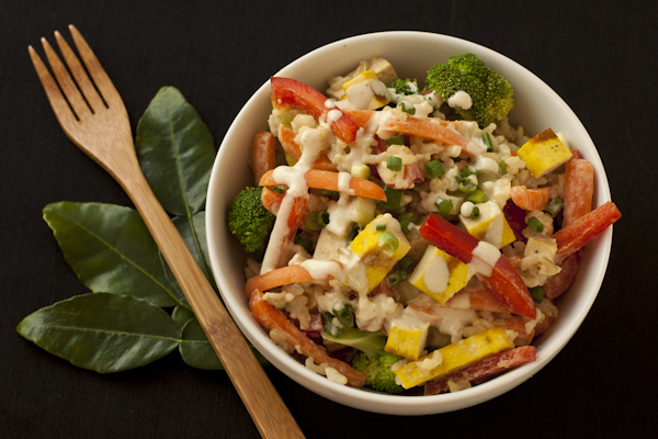 Exotic Thai rice bowl salad with kaffir lime cream sauce