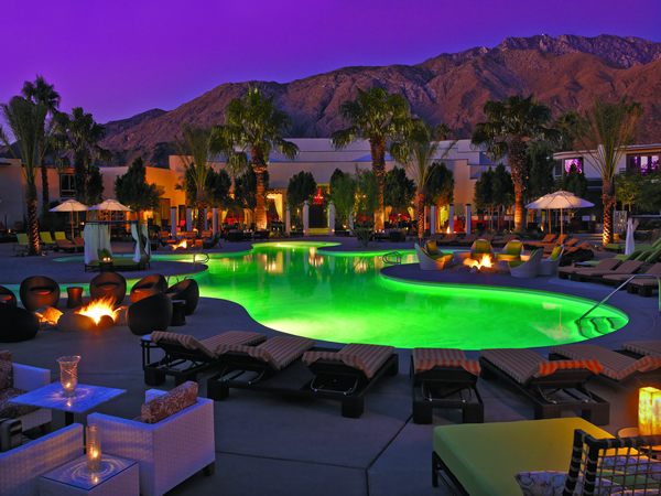 Evening at the Riviera Palm Springs Bikini Bar Pool