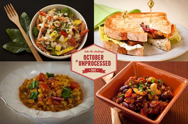 October Unprocessed Lunch menu