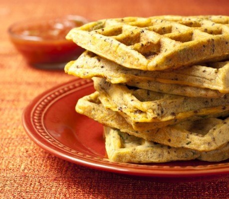 Cheesy chorizo waffles