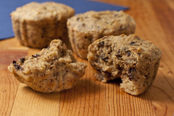 Banana-walnut-chocolate chunk muffins with sweet rice flour