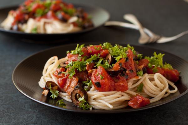 Pasta Alla Puttanesca, vegan and gluten-free
