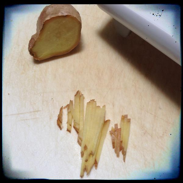 Cutting ginger into matchsticks for marmalade | Recipe Renovator