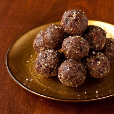 Chocolate-date-pecan truffles