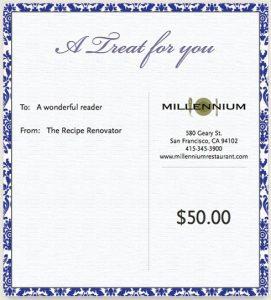Millenium Restaurant gift certificate