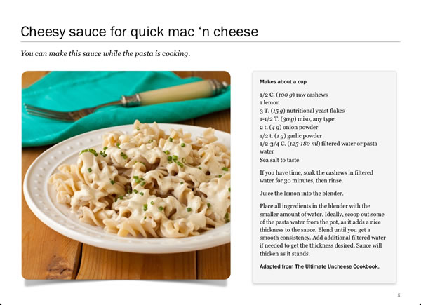 Screenshot of Cheesy Mac from Twelve Terrific Dairy Substitutes by Recipe Renovator