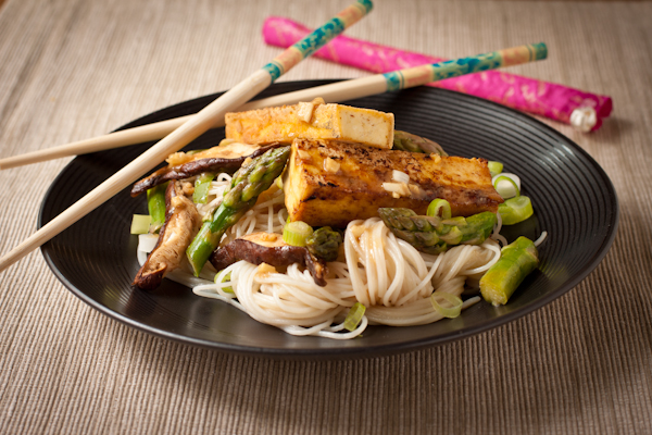 Miso Glazed Tofu with Asparagus and Rice Noodles | Recipe Renovator
