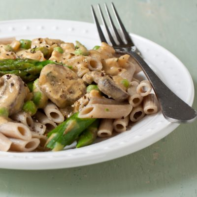 "Spring vegetable penne with lemon ""cream"" sauce"