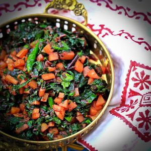 Beet Greens with potatoes and Nigella seeds | A Dog Days of Summer post from Westchester Masala