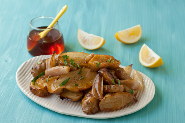 Honey-roasted sunchokes with shallots and Meyer lemon