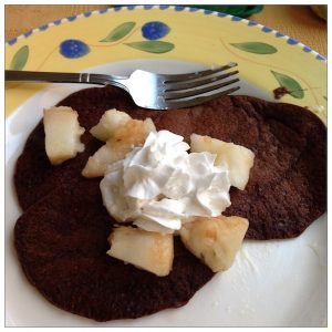 Plum chocolate pancakes | Cookbook review by Recipe Renovator
