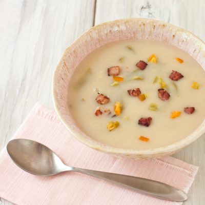 Creamy potato soup with uncured heirloom ham and Hatch chiles