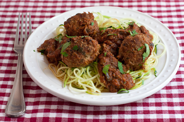 Meatballs with zucchini noodles
