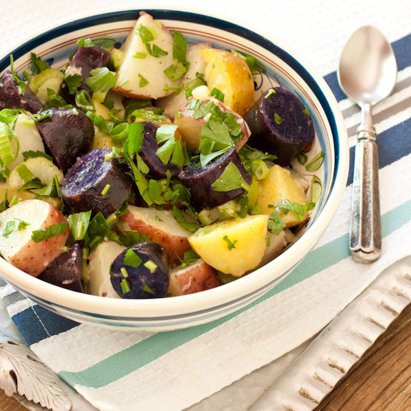 Red, white, and blue potato salad with peppery radish dressing from Recipe Renovator   Bright, fresh, herby as well as gluten-free, low-sodium, and dairy-free. Can easily be vegan.