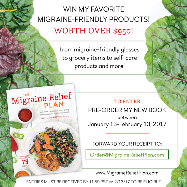 he Migraine Relief Plan Pre-order Giveaway runs 1/13/17-2/13/17. Worth over $950. Ends 11:59 PM PST on 2/13/17.